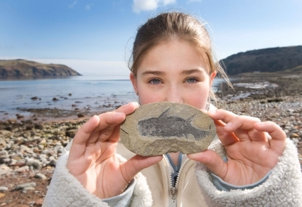 Girl with fossil