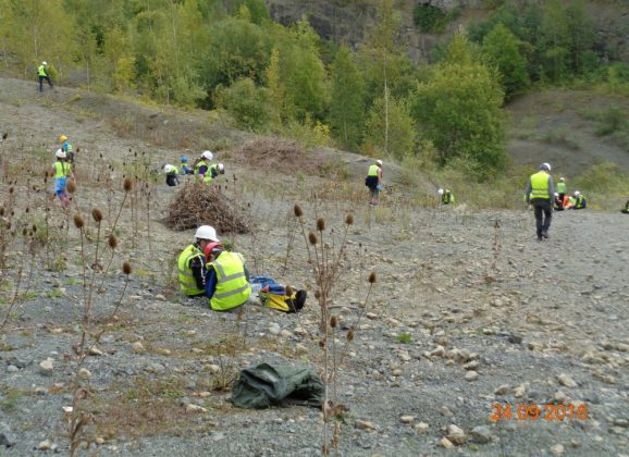 Rockwatchers hunting for fossils at Whitman's Hill Quarry last weekend