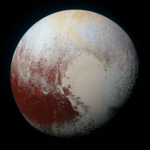 Pluto, as captured by the Multispectral Visual Imaging Camera on NASA's New Horizon's spacecraft. Credit: NASA/JHUAPL/SwRI